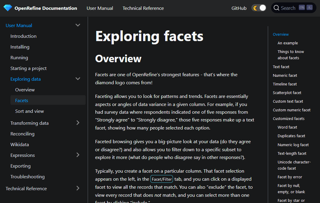 A screenshot of the new user manual.